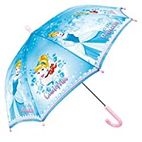 Disney Princess Umbrella for Children - Resistant Dome Stick Brolly with Rapunzel or Cinderella Print - Safety Manual Opening - Light Robust Nice - Girls 3/5 Years - Diam 66 cm - Perletti