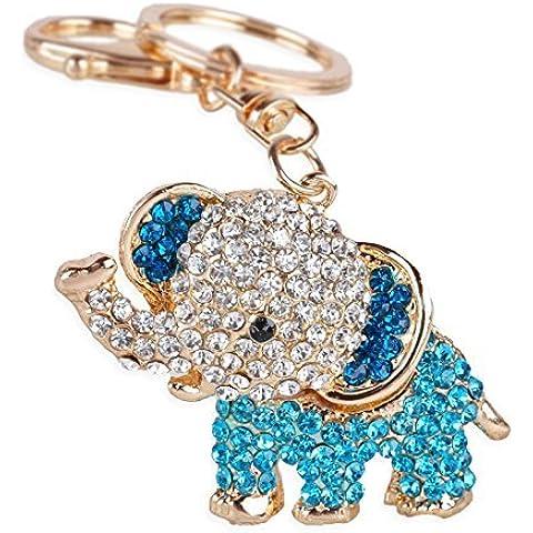 Crystal Lucky Rhinestone Elefante Colgante De Las Cadenas De Clave (Cute Monedero Bolsa Regalos y # xFF08; Rosa), azul