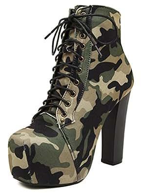 SHOWHOW Damen Tarnung Schnürstiefeletten Kurzschaft Stiefel mit Absatz Militär-Grün 38 EU u6ROko