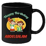 Huppme Happy Birthday Abdelsalam Black Ceramic Mug (350 ml)