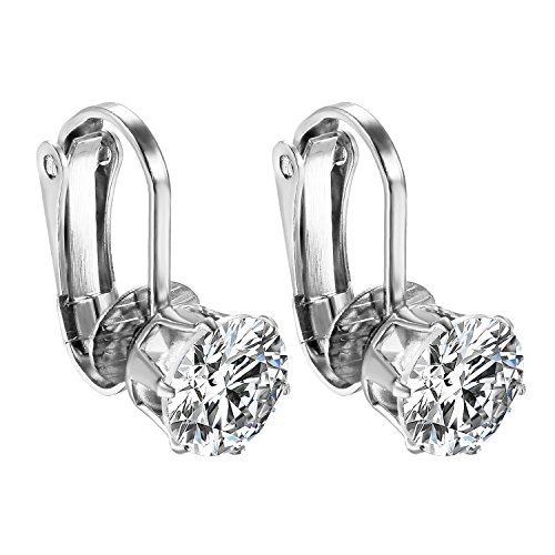 JewelryWe Schmuck 2x Non-Piercing Ohrclips Ohrringe Damen Mädchen Edelstahl Runde Zirkonia Ohrklemme Ear Cuff Fake Piercing Ohne ohrlöcher Silber