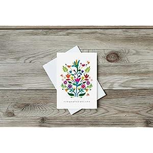 Grusskarte Congratulations, Postkarte, Recycling, Mexico, Folk Art, Gratulation, Glückwunsch, Blume, Geschenk, Din A6, Recycling Papier, Herz