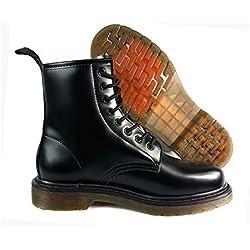 Martins estilo Lace Up Vintage Retro Trabajo de piel moda botas, negro, UK9 / EUR44