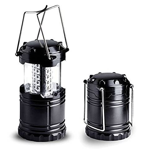 LED Lantern - Camping Lantern - Collapses - Suitable for: Hiking, Camping, Emergencies, Hurricanes, Outages - Super Bright - Lightweight - Water Resistant Black