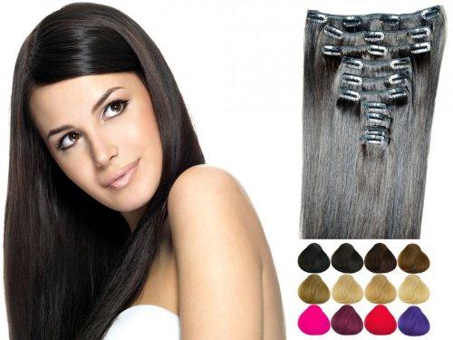 10 teiliges Set Clip In Extensions aus Echthaar Haarverlängerung Haarteil viele Farben 100Gramm