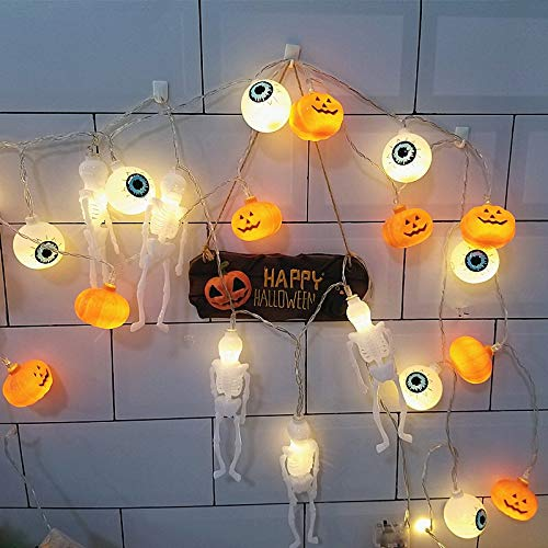 BangShou-Halloween Dekorationen LED Lichterketten, 3 Strings batteriebetriebene LED Home Party Lichter Dekor-Skelett/Kürbis/Augapfel Licht