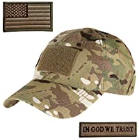 Lightbird Tactical Hat with 2 PCS Military Patch, Adjustable Military Operator OCP Ball Hats Cap for Men Large green