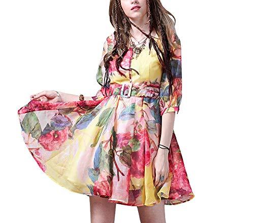Bedruckte Seide Organza-kleid (Kleid Damen Sommer Print A-Text Vintage Elegant Kurzer Rock, Pink, M)