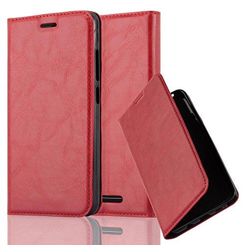 Cadorabo Hülle für Wiko Jerry - Hülle in Apfel ROT – Handyhülle mit Magnetverschluss, Standfunktion und Kartenfach - Case Cover Schutzhülle Etui Tasche Book Klapp Style