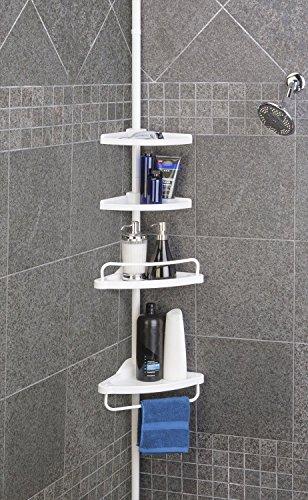 Tekbox 4 Tier Adjustable Bathroom Shower Organiser Corner Shelf Rack Towel Rail Caddy Holder 70cm – 245cm
