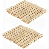 SNS-Essentials Wooden Clips Bamboo Clips/Wooden Cloth Clips/Pegs Set of 40 Clips