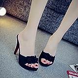 DYY Fleurs d'été féminins avec des sandales sexy fines talon haut ouvert toe sandales noires,Noir,38