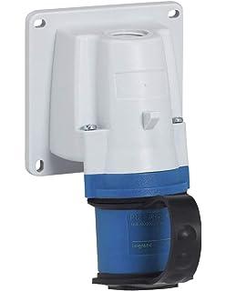 2P 380V IP44 Bleu T 32A Electraline 80868 Prise industrielle Murale inclin/ée