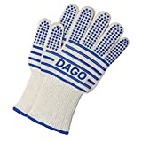 Oven Gloves - Scald-proof Heat-resistant Double-sided Silicone Coating, Fingers Separated Knitted Gloves, Kitchen Baking BBQ Grilling Camping Use - 1 pair [ 2 pack] - [ DAGO-Mart Quality Guarantee ]