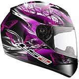LS2 FF351 - Casco integral de mujer para motocicleta, diseño ondulante de color rosado y violeta
