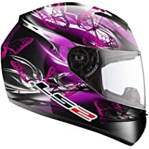LS2 FF351 FF352 - Casco integral de mujer para motocicleta, diseño ondulante de color rosado y