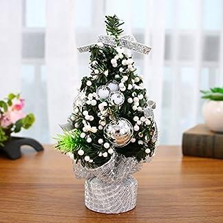 Árbol de Navidad pequeño para mesa, árbol de Navidad dorado, rojo, plata para el hogar, oficina, centro comercial, bares de Navidad, decoración de fiesta Tamaño libre plata