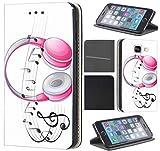 CoverHeld Hülle für Samsung Galaxy S6 Edge G925 Premium Flipcover Schutzhülle aus Kunstleder Flip Case Motiv (1565 Kopfhörer Pink Noten Musik)