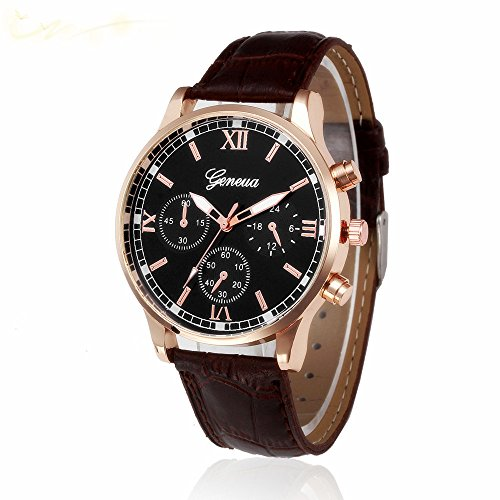 DAY.LIN Uhr Herren Uhren Herrenuhr Retro Design Lederband analoge Legierung Quarz-Armbanduhr (Braun)
