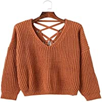 Señoras Suéter, Suéter Tejido Ahuecado con Cuello En V,Rojo,El Código Unificado
