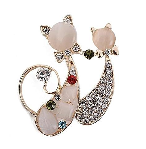 Hosaire 1X Dual-Diamant-Brosche wilden Katze Retro-Kleidung Opalbrosche