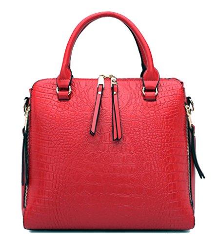 Yan Show Damen PU Schultertaschen Krokodilmuster Handtasche Mädchen Umhängetaschen Rot