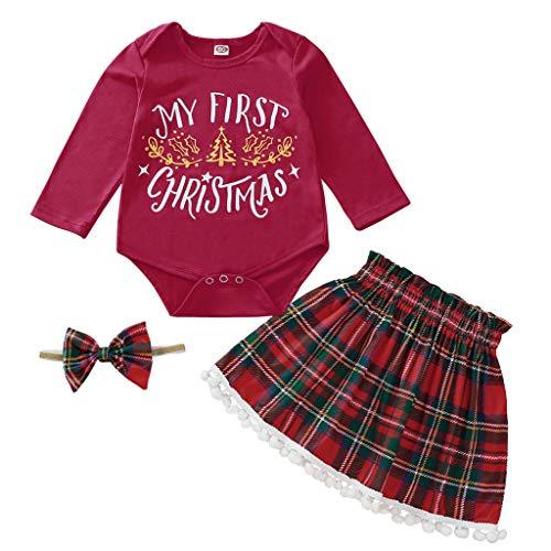 Baby Set Kleidung Weihnachten, Infant Baby Mädchen Weihnachten Bodysuit Tassel Plaid Röcke Stirnband Outfits 3 stücke Set (Strampler + Rock + Haarband)