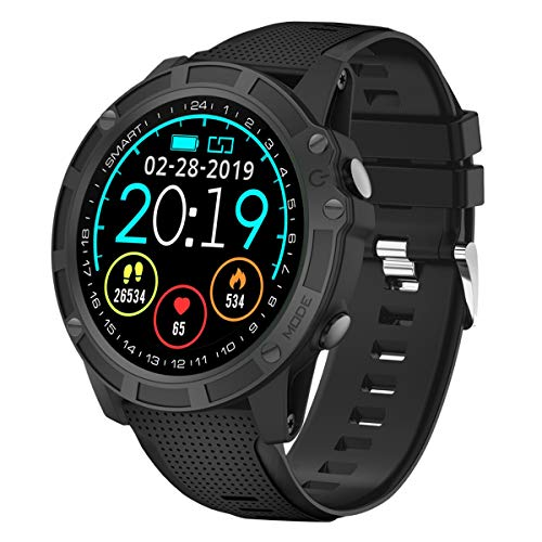 【2019 Neueste】 Antimi Bluetooth Smartwatch Sportuhr für Radfahren,Fitness Armbanduhr Wasserdicht Schwimmen Herzfrequenz Blutdruckmessung Schrittzähler für Herren Damen mit iPhone/Android Samsung