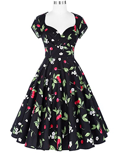 Belle Poque Damen Kappen Hülse V-Ausschnitt Retro Vintage Baumwolle Party Picknick Kleid BP01 Blumen-1