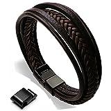 Murtoo Edelstahl Echtleder Armband schwarz|braun geflochten mit Magnet Verschluss(22cm) (Braun)