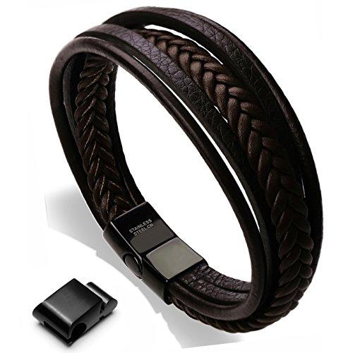 Murtoo Edelstahl Echtleder Armband schwarz|braun geflochten mit Magnet Verschluss(22cm) (Braun) (Herren Armbänder)