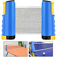 Weeygo Ping Pong Net, Portable and Retractable Table Tennis Nets, Adjustable Any Table Portable Travel Holder Indoor Outdoor Sports Accessories (Blue)