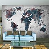 murando – Papier peint intissé 350x270 cm - Papier peint - Trompe l oeil - Tableaux muraux - déco – XXL la carte du monde - 10040910-48
