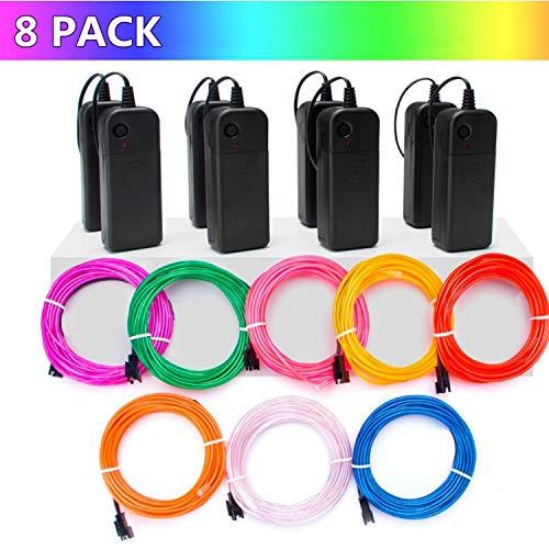 leuchtende 8 colors x 3m Strobing Elektrolumineszenz mit 3 Modus für Halloween Weihnachtsfeier DIY Dekoration ()