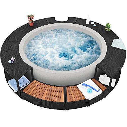 XXL Whirlpool Umrandung Polyrattan Pool Rahmen Verkleidung Poolumrandung - 2