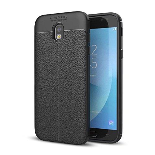 Samsung Galaxy J7 2017/PRO(J730) hülle Silikon weicher hülle TPU Ultra dünn haut textur Litschi-Haut Stoßschutz Cover Case DECHYI-Schwarz Polaroid-kamera-licht-gelb