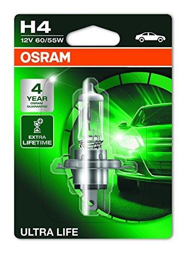 OSRAM ULTRA LIFE H4, Lampe de phare halogène, 64193ULT-01B, 12V véhicule de tourisme, blister individuel (1 pièce)