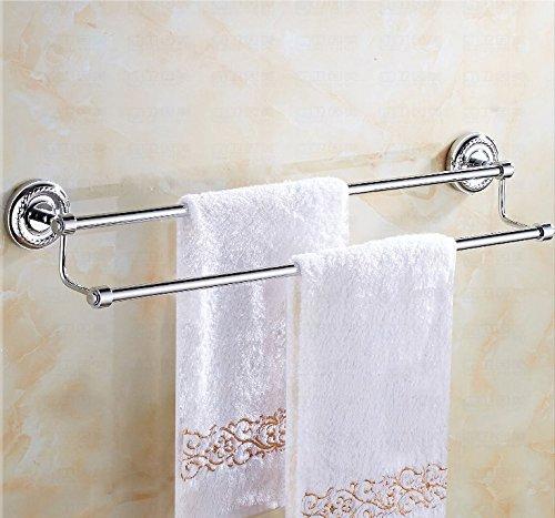 Hlluya Handtuchhalter Das Kupfer Double bar Handtuchhalter Handtuchhalter im Badezimmer Hardware WC Einzel Doppel Pole Nicht - Edelstahl, Messing, Doppel, Punch, 63 cm montiert