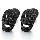 Homme Femme Noir Boucles d'oreilles Rayon de Miel Crâne - Gothique Clous d'oreille - Acier - Revisser - Punnk Biker
