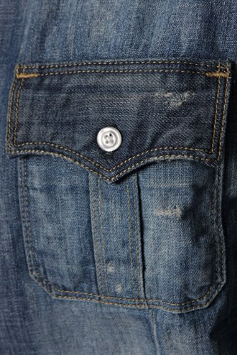 True Religion Herren Hemd Jeans RYAN EPAULETTE WESTERN FZM - EXPEDITION Blau