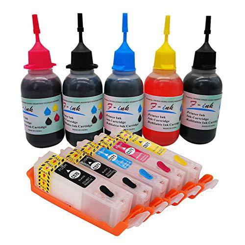 F-INK - Cartuccia di inchiostro ricaricabile e 5 flaconi di inchiostro da 50 ml, compatibile con Canon PGI-570 CLI-571 o PGI-570XL CLI-571XL, 5 colori PGBK BK C M Y