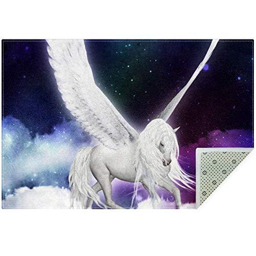 Bennigiry Area Rugs Sky Pegasus Einhorn Engel Weiche Große Teppichmatte Anti-Rutsch-Teppich für Wohnzimmer Schlafzimmer Spielzimmer 152,4 x 7,9 m, Polyester, Multi, 150x100cm/59x39in -