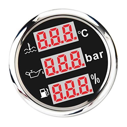 Almencla 52MM 3 In1 Digitale Ödruckanzeige Wassertemperatur Anzeige Tankuhr Tankanzeige für Auto Motorrad Boot - Schwarz