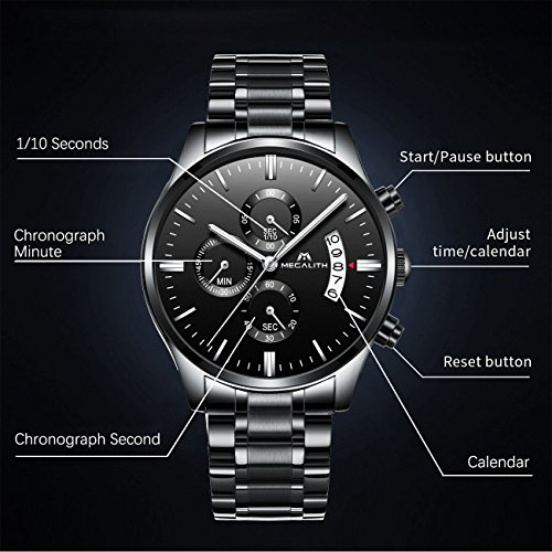 819a9db203b5 Relojes Hombre Acero Inoxidable Reloj de Pulsera de Lujo Moda Cronometro  Impermeable Fecha Calendario Analogicos Cuarzo Relojes Militares Deportivo  Marea ...
