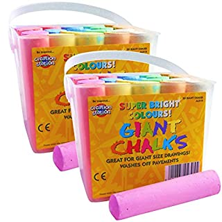 Amazing Arts and Crafts 40 Coloured Chalks 2 Jumbo Tubs Assorted Giant Chunky Coloured Chalks for Kids Outdoor Playground Garden Patio Pavement Sidewalk Chalk 20 per Tub