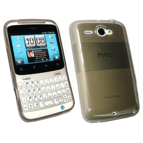 Kit Me Out TPU-Gel-Hülle + Displayschutzfolie mit Mikrofaser-Reinigungstuch für HTC Chacha - Schwarz Gefrostet
