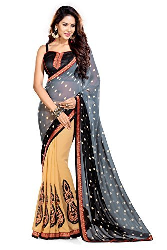 Sourbh Sarees Stylish Patch Work Beige & Grey Faux Georgette Half Half Style Must Have Best Sarees for Women Party Wear,Women Clothing Collection
