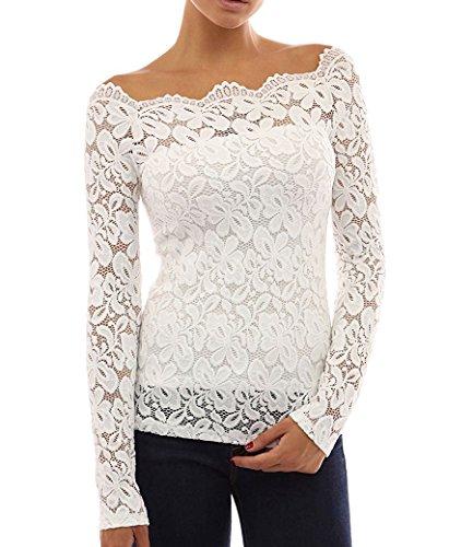 Frauen-Blumenspitze Off Schulter Hemd Lange Ärmel Bluse Tops White XXL Frauen Xxl-hemden
