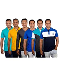 Pashion Men's Cut & Sew Polo T Shirts With Matching Collar Apple Navy White XXL