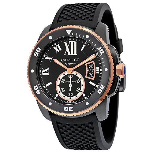 Cartier Herren-Armbanduhr 42mm Armband Kautschuk Schwarz Gehäuse Edelstahl Automatik Analog W2CA0004